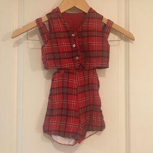 Vintage 2-Pc Plaid Shortalls & Vest Baby